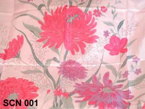 Thai silk scarf nature design with flowers