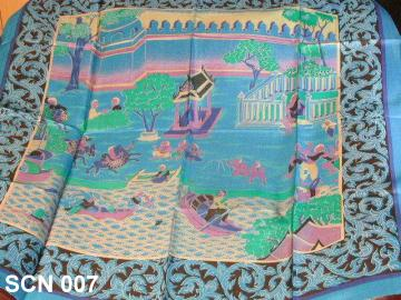 Traditional Thai life pattern on silk scarves