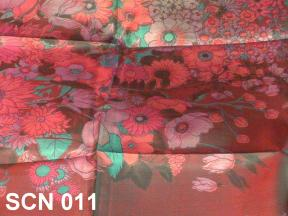 Ravishing red designer scarf, Thai silk