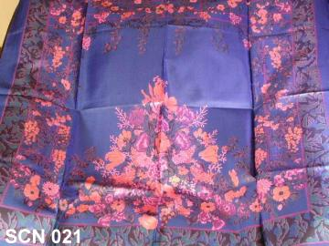 Lovely blue designer scarf with flowers