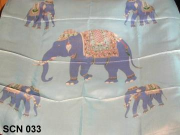 Elephant shown on this silk scarf from Thailand