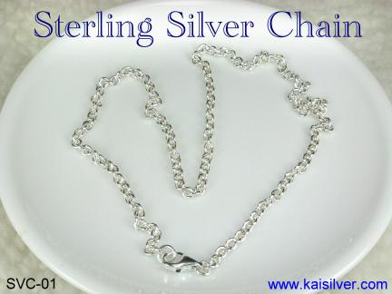 Silver chain, flexible silver chain good for long lengths too.